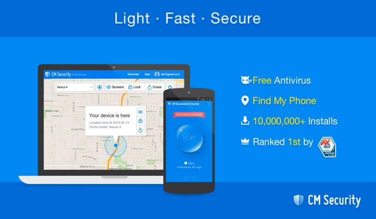 Interfaz gráfica de la app CM Security