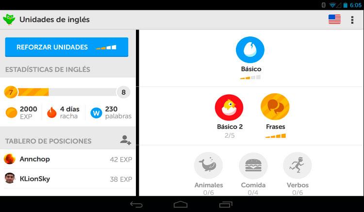 Interfaz gráfica de la app Duolingo