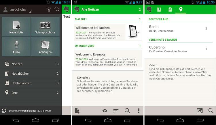 Interfaz gráfica de la app Evernote