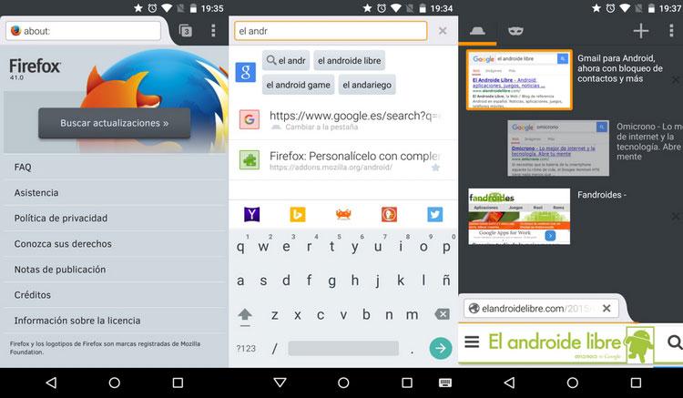 Interfaz gráfica de la app Firefox