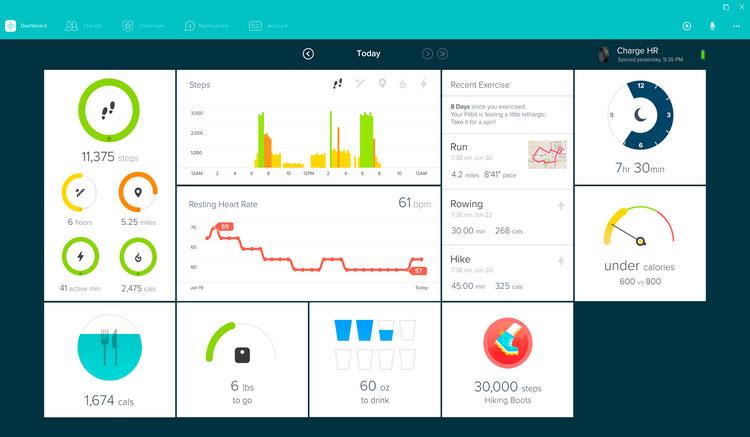 Interfaz gráfica de la app FitBit