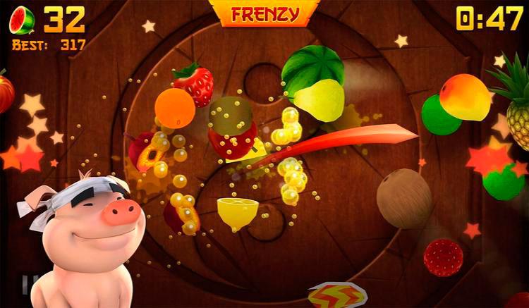 Interfaz gráfica del juego Fruit Ninja