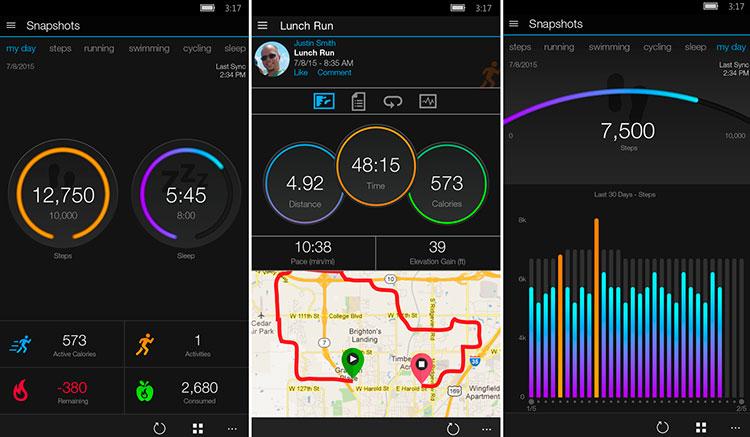 Interfaz de la app de Garmin Connect Mobile