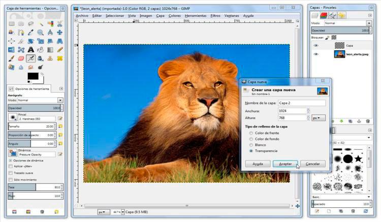 Imagen donde podemos ver el aspecto de la interfaz gráfica de GIMP.