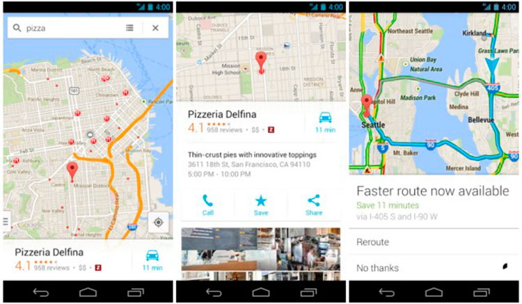 Interfaz gráfica de la app Google Maps