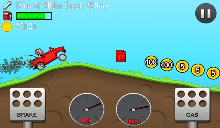 Interfaz gráfica del juego Hill Climb Racing