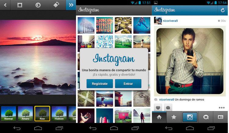 Interfaz gráfica de la app Instagram