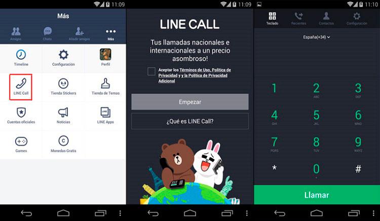 Interfaz gráfica de la app Line