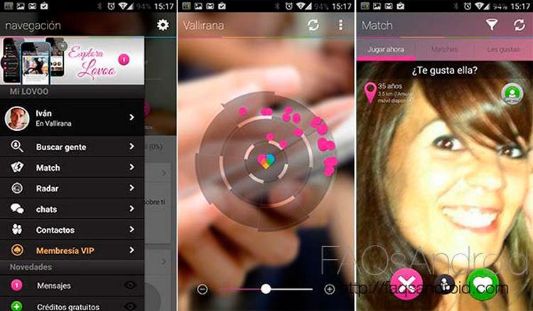 Interfaz gráfica de la app LOVOO