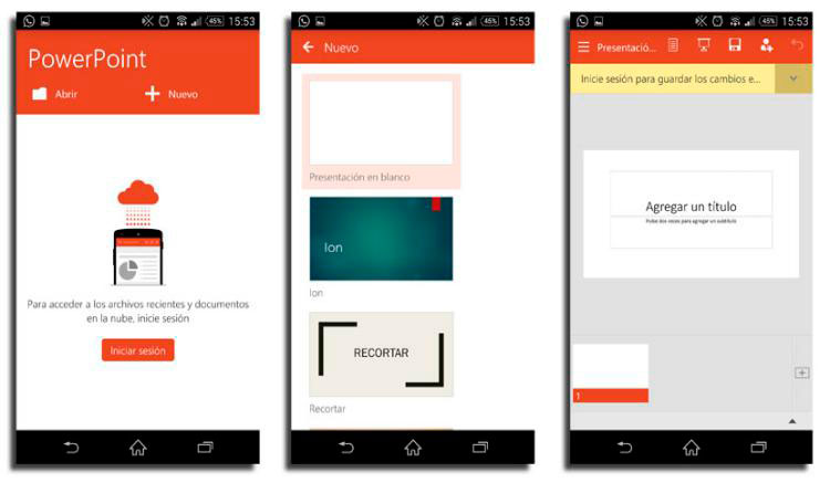 Interfaz gráfica de la app Microsoft PowerPoint