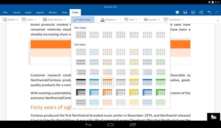 Interfaz gráfica de la app Microsoft Word