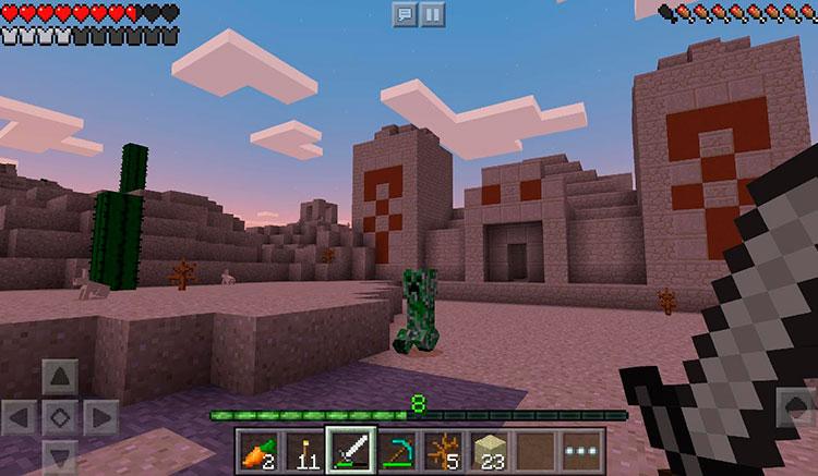 Interfaz gráfica del juego Minecraft Pocket Edition