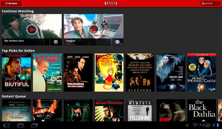 Interfaz gráfica de la app Netflix