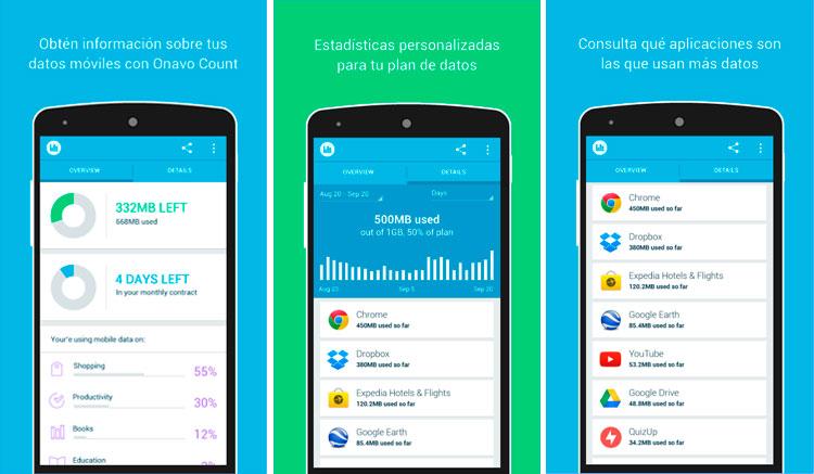 Interfaz gráfica de la app Onavo Count
