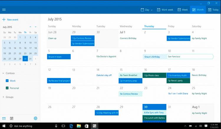 Interfaz gráfica de la app One Calendar