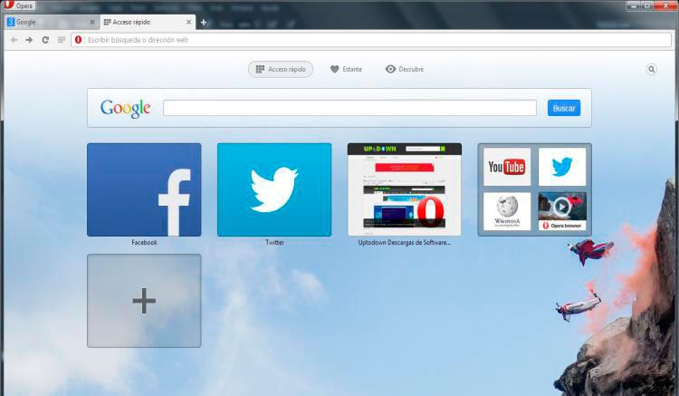 Interfaz gráfica de la app Opera