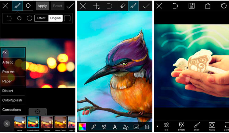 Interfaz gráfica de la app PicsArt