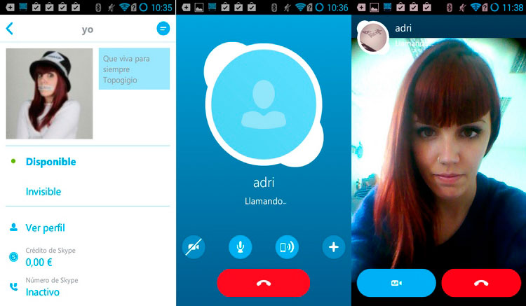 Interfaz gráfica de la app Skype