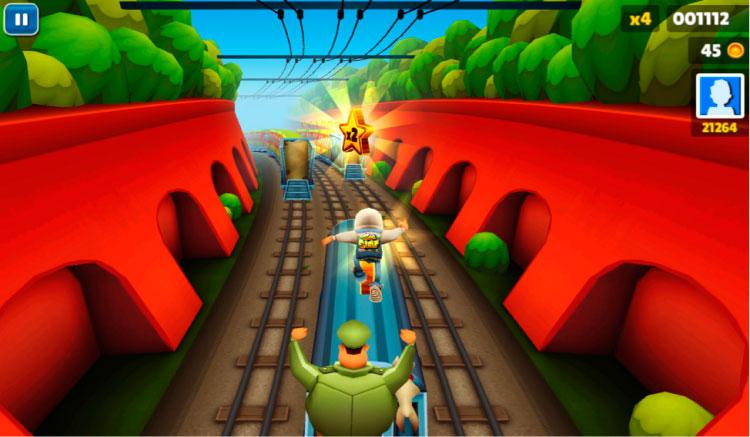Interfaz gráfica del juego Subway Surfers