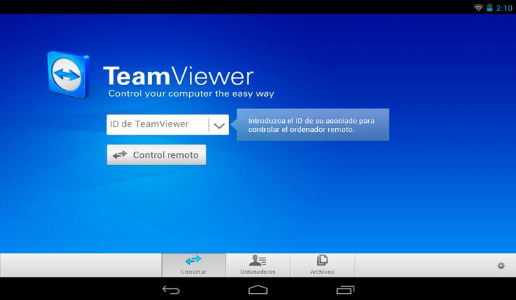 Interfaz gráfica de la app TeamViewer
