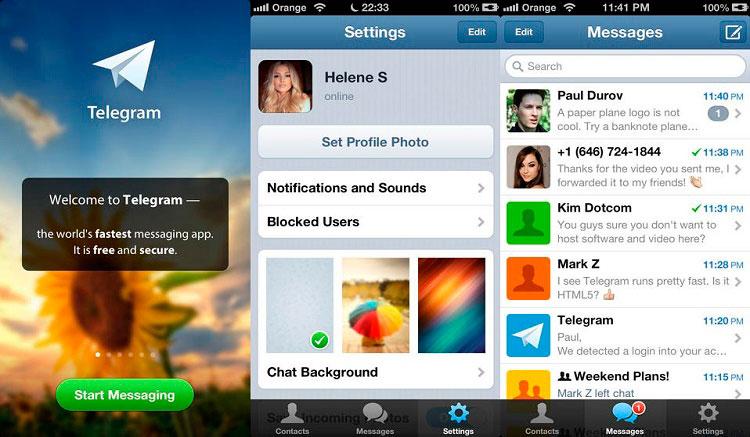 Interfaz gráfica de la app Telegram