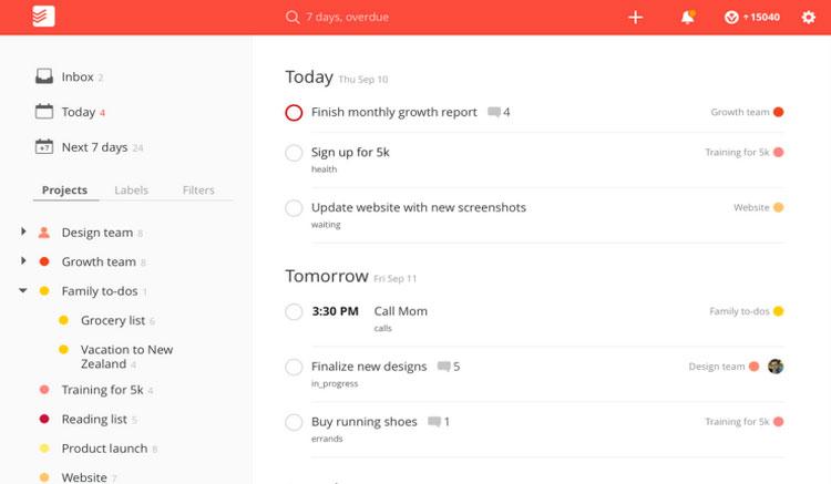 Interfaz gráfica de la app Todoist