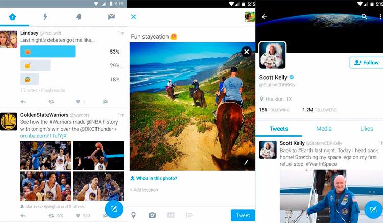 Interfaz gráfica de la app Twitter