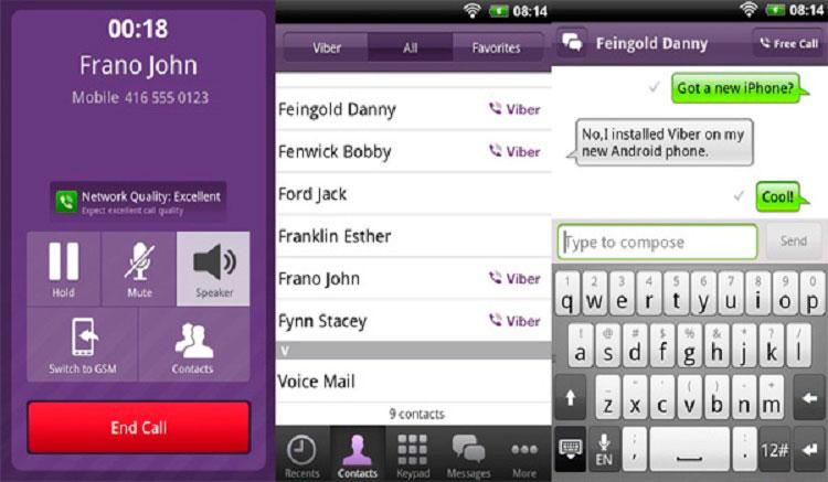 Interfaz gráfica de la app Viber