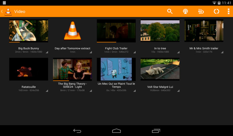 Interfaz gráfica de la app VLC Media Player