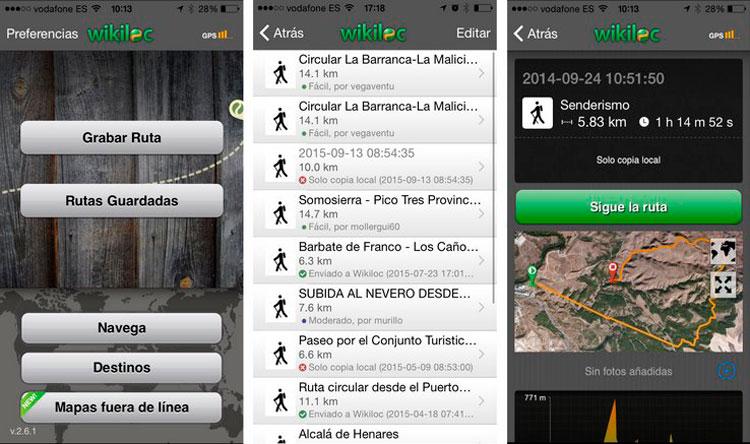 Interfaz gráfica de la app Wikiloc