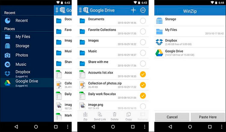 Interfaz gráfica de la app WinZip
