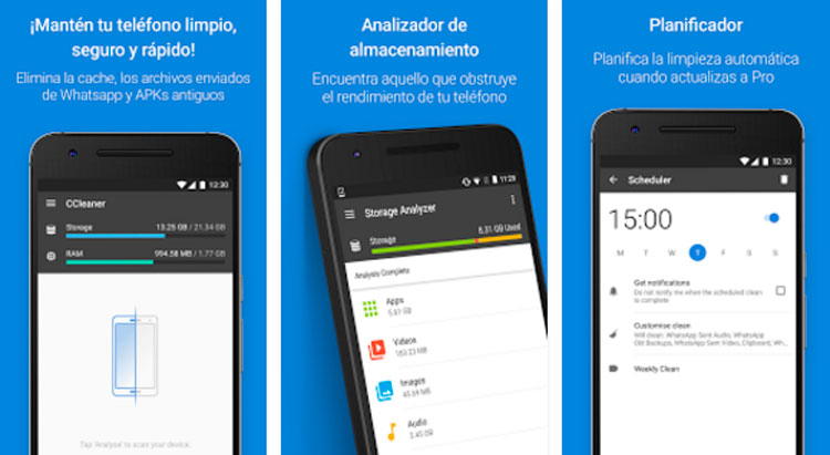 Interfaz gráfica de la app CCleaner