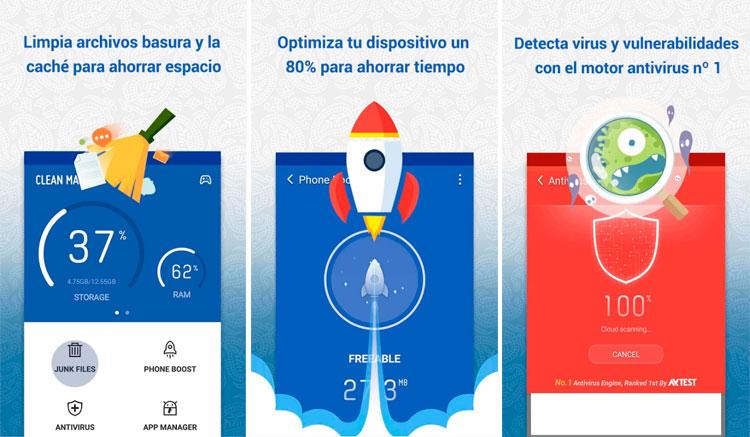 Interfaz gráfica de la app Clean Master