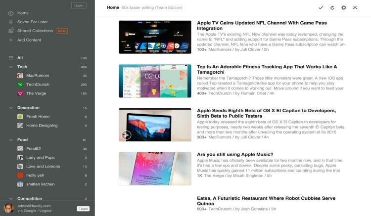Interfaz gráfica de la app Feedly