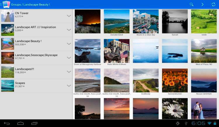 Interfaz gráfica de la app Flickr