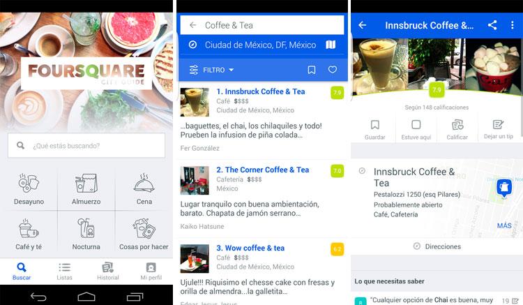 Interfaz gráfica de la app Foursquare