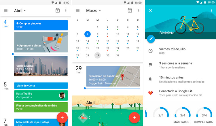 Interfaz gráfica de la app Google Calendar