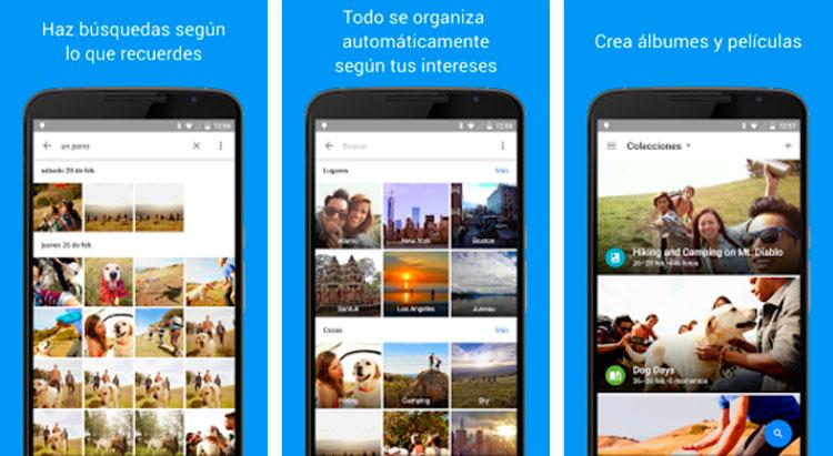 Interfaz gráfica de la app Google Fotos