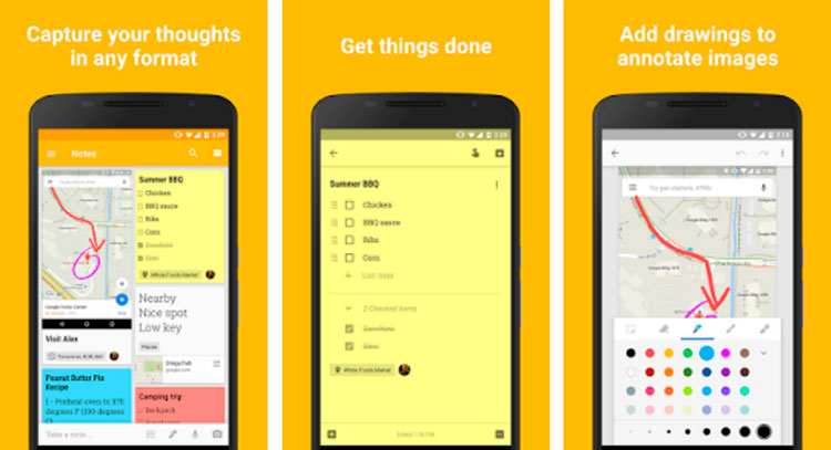 Interfaz gráfica de la app Google Keep