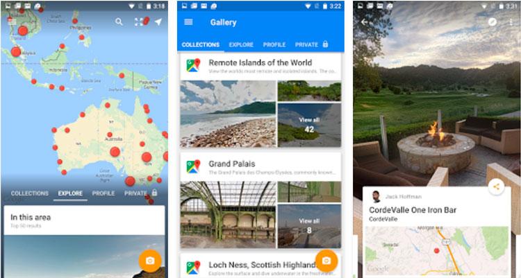 Interfaz gráfica de la app Google Street View