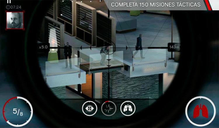 Interfaz gráfica del juego Hitman Sniper
