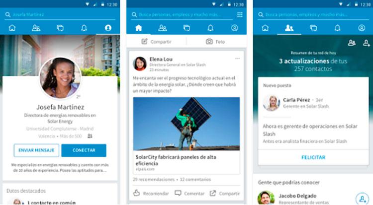 Interfaz gráfica de la app LinkedIn