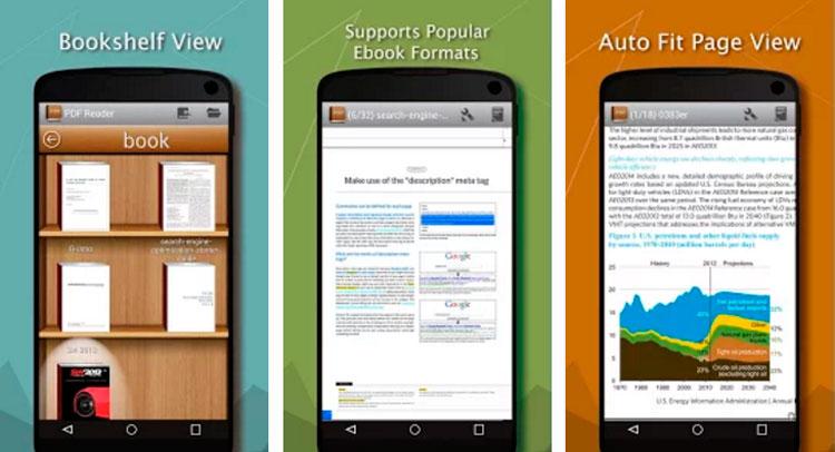 Interfaz gráfica de la app PDF Reader