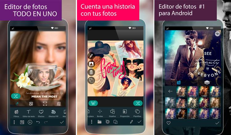 Interfaz gráfica de la app Photo Studio