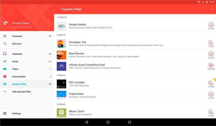 Interfaz gráfica de la app Pocket Casts