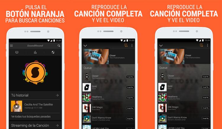 Interfaz de la app de SoundHound
