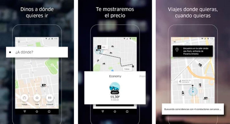Interfaz gráfica de la app Uber