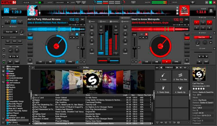 Interfaz gráfica de la app Virtual DJ