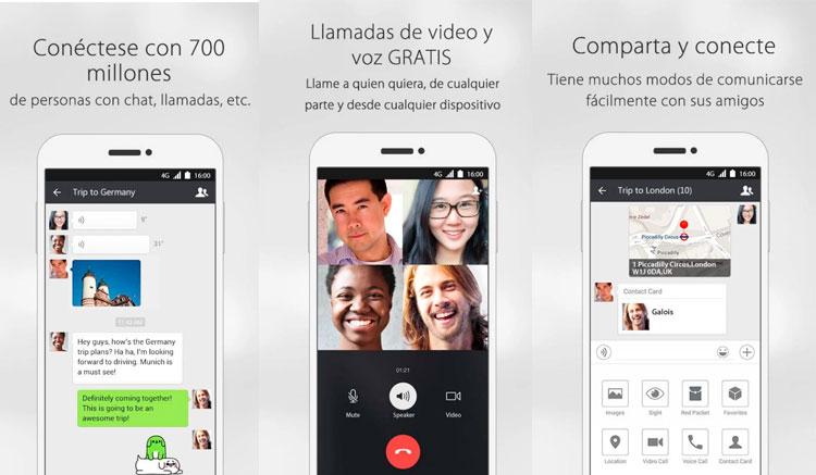 Interfaz gráfica de la app WeChat