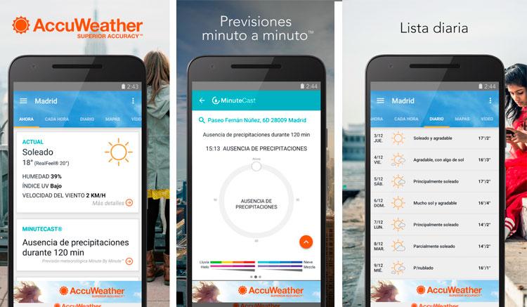 Interfaz gráfica de la app AccuWeather